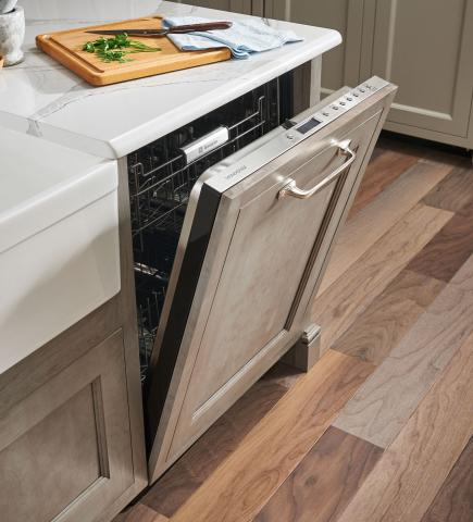 dishwasher with gray custom panel