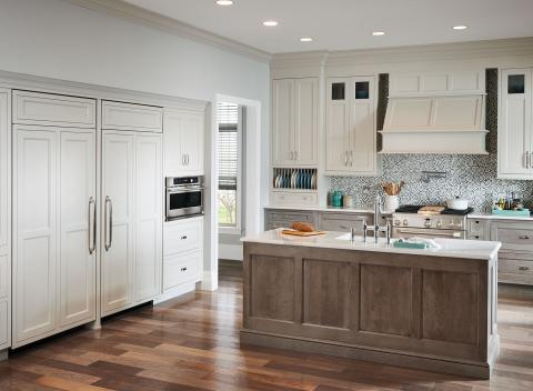 Transitional Gray and White Kitchen